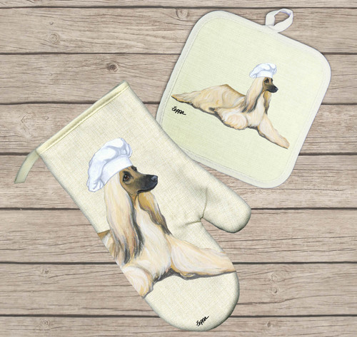 Afghan Hound Oven Mitt and Pot Holder Set