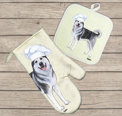 Alaskan Malamute Oven Mitt and Pot Holder Set