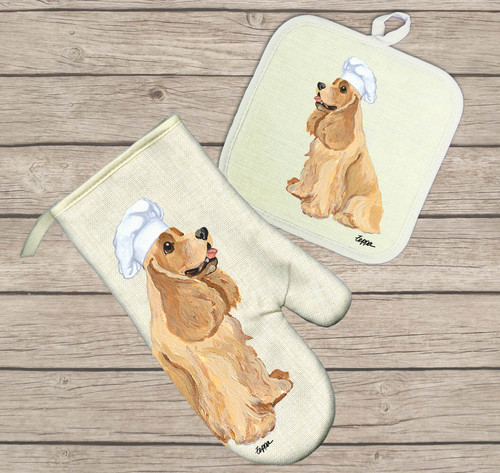 American Cocker Spaniel, Buff Oven Mitt and Pot Holder Set