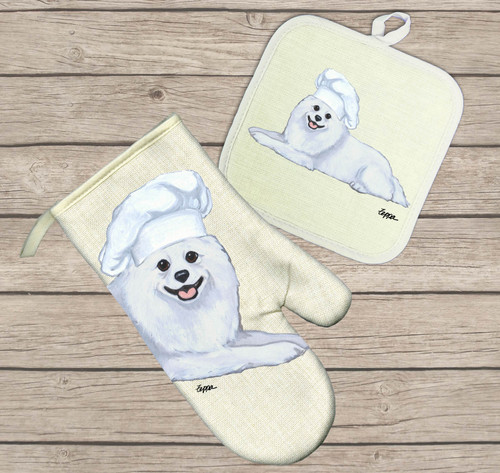American Eskimo Oven Mitt and Pot Holder Set