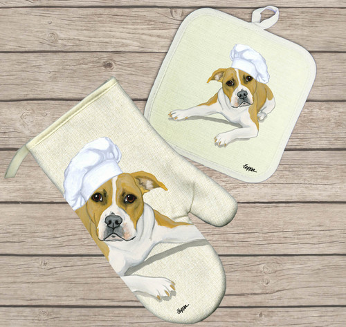 Pit Bull Terrier Oven Mitt and Pot Holder Set