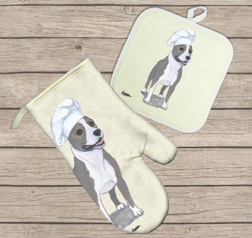 American Staffordshire Terrier Oven Mitt and Pot Holder Set