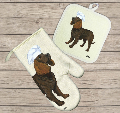 American Water Spaniel Oven Mitt and Pot Holder Set