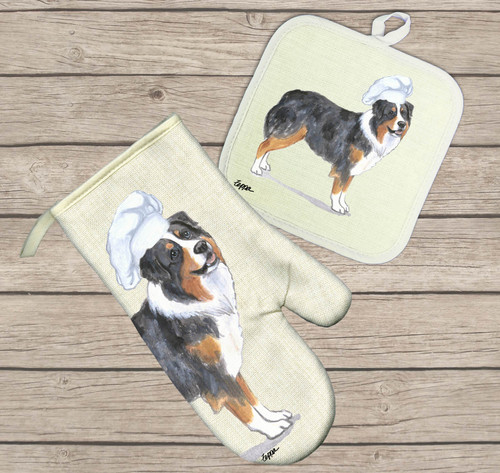 Australian Shepherd Oven Mitt and Pot Holder Set