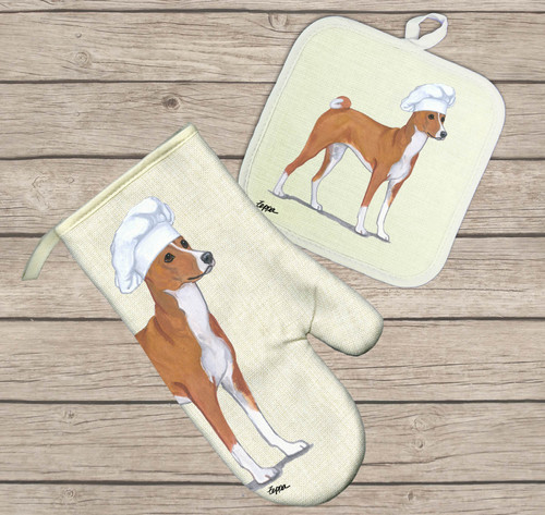 Basenji Oven Mitt and Pot Holder Set
