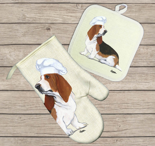 Basset Hound Oven Mitt and Pot Holder Set