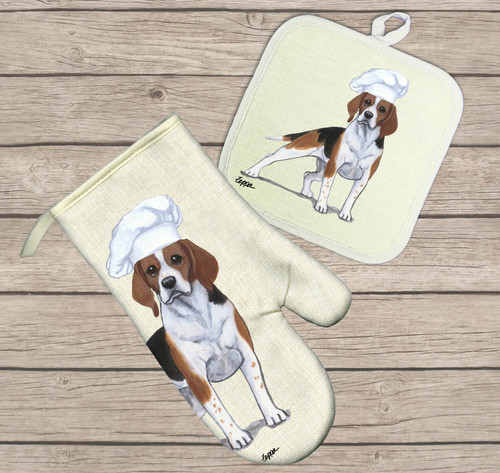 Beagle Oven Mitt and Pot Holder Set