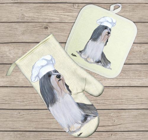 Bearded Collie Oven Mitt and Pot Holder Set