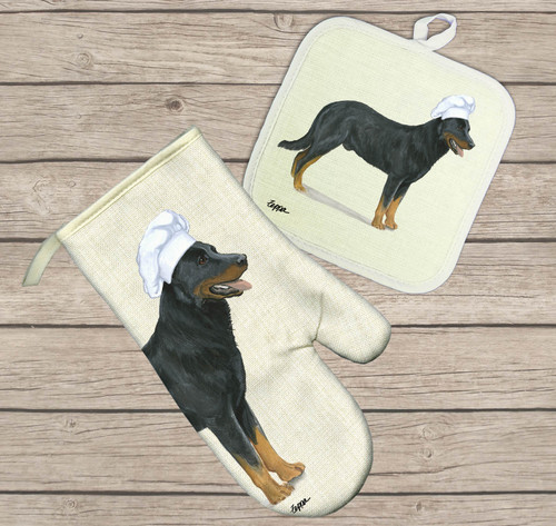 Beauceron Oven Mitt and Pot Holder Set