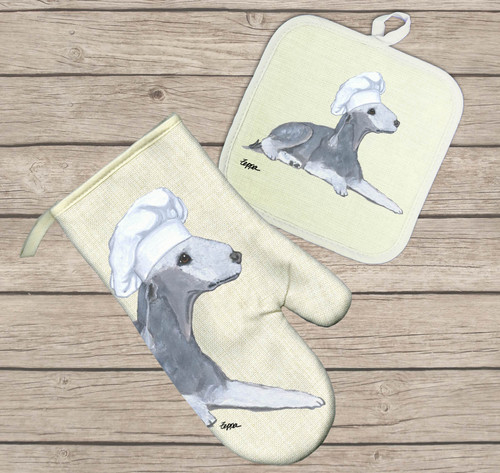 Bedlington Terrier Oven Mitt and Pot Holder Set