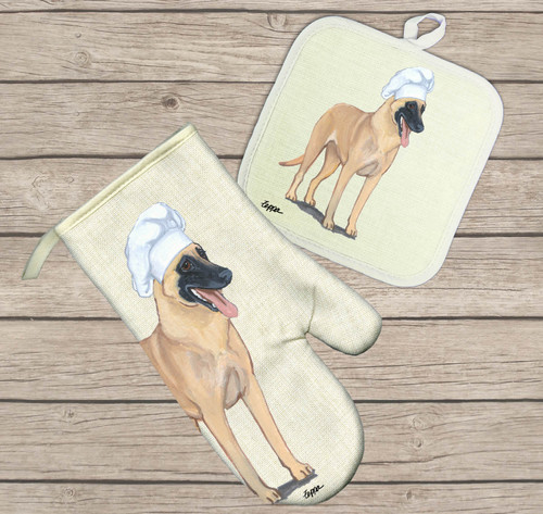 Belgian Malinois Oven Mitt and Pot Holder Set