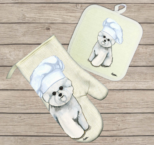 Bichon Frise Oven Mitt and Pot Holder Set