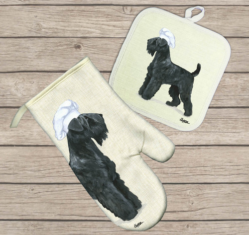 Black Russian Terrier Oven Mitt and Potholder Set