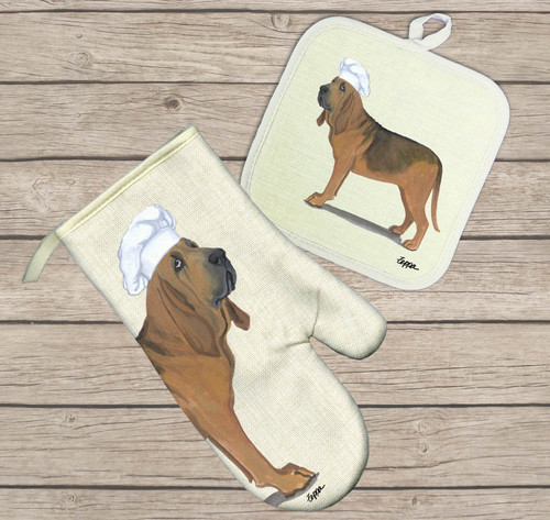 Bloodhound Oven Mitt and Pot Holder Set