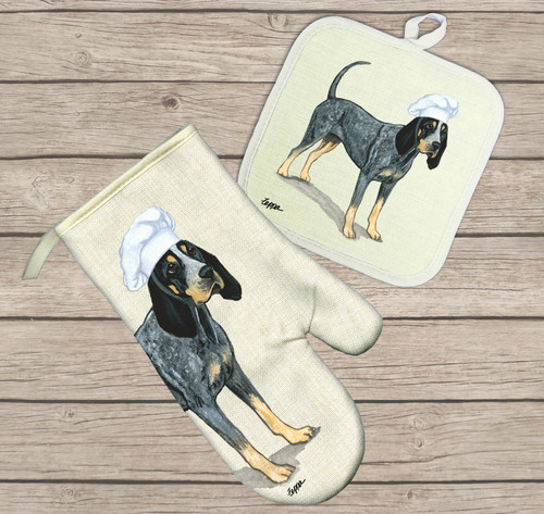 Bluetick Coonhound Oven Mitt and Pot Holder Set