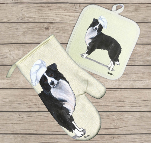 Border Collie Oven Mitt and Pot Holder Set