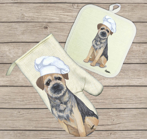 Border Terrier Oven Mitt and Pot Holder Set