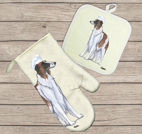 Borzoi Oven Mitt and Pot Holder Set