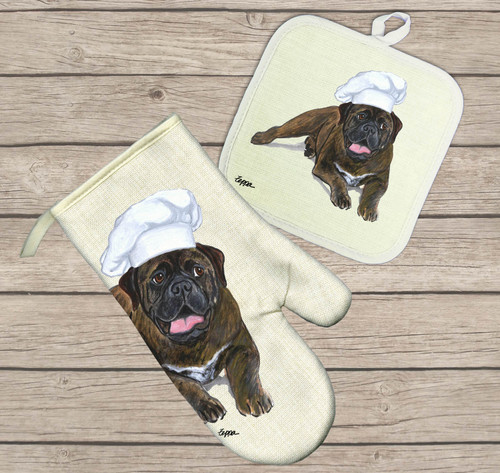 Bullmastiff Oven Mitt and Pot Holder Set
