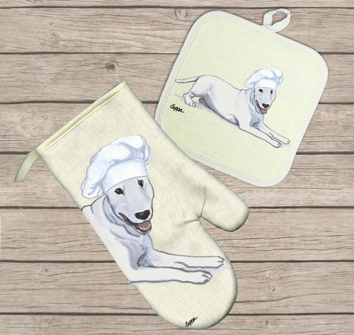 Bull Terrier Oven Mitt and Pot Holder Set