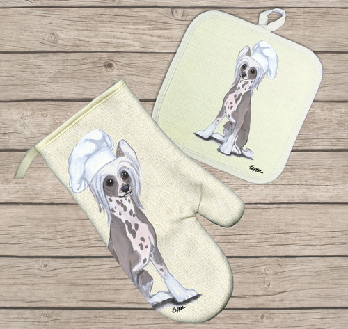 Chinese Crested Oven Mitt and Pot Holder Set