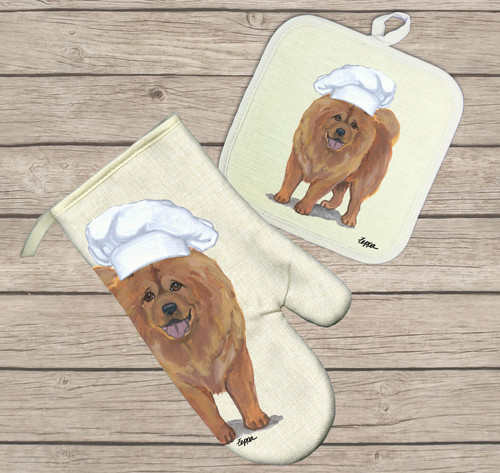 Chow Chow Oven Mitt and Pot Holder