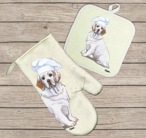 Clumber Spaniel Oven Mitt and Pot Holder