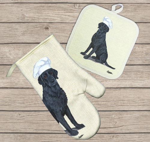 Curly Coated Retriever Oven Mitt and Pot Holder Set