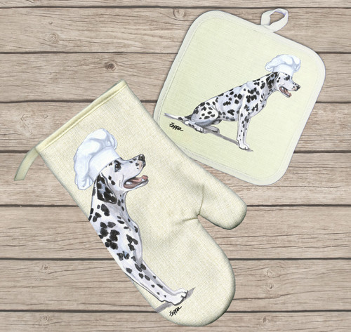 Dalmatian Oven Mitt and Pot Holder Set