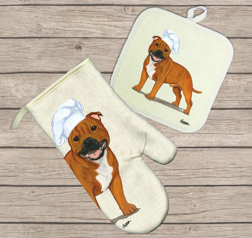 Red English Staffordshire Terrier Oven Mitt and Pot Holder Set