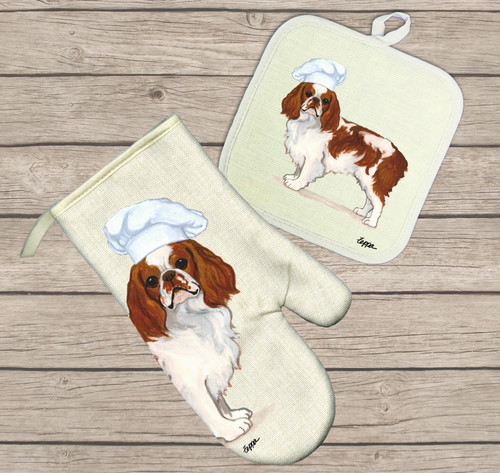 Blenheim English Toy Spaniel Oven Mitt and Pot Holder Set