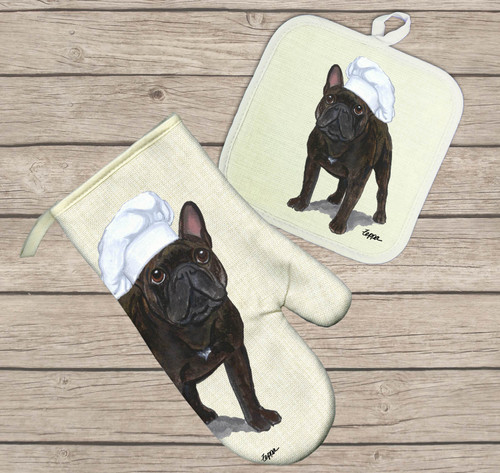 French Bulldog Oven Mitt and Pot Holder Set