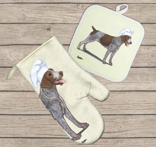 German Wirehaired Pointer Oven Mitt and Pot Holder Set