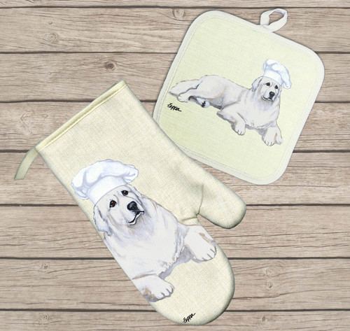 Great Pyrenees Oven Mitt and Pot Holder Set