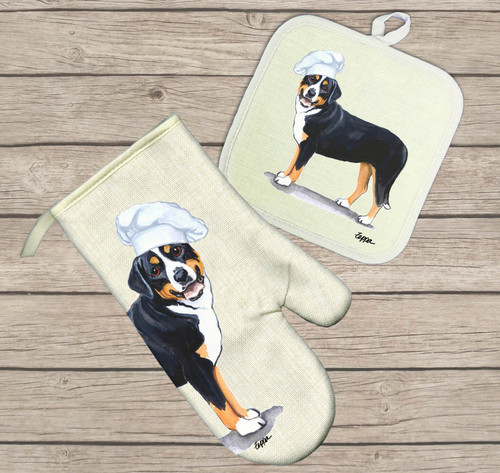 Greater Swiss Mountain Dog Oven Mitt and Pot Holder Set