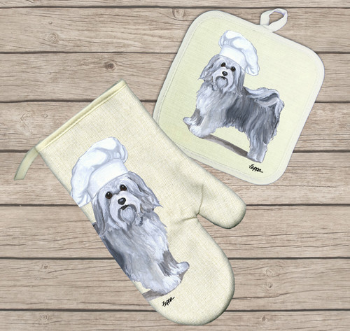 Havanese Oven Mitt and Pot Holder Set