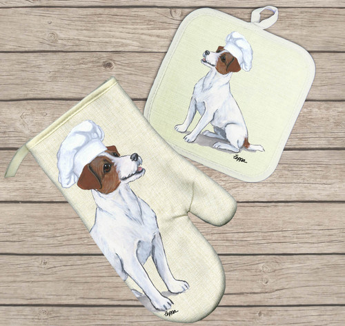 Jack Russell Oven Mitt and Pot Holder Set