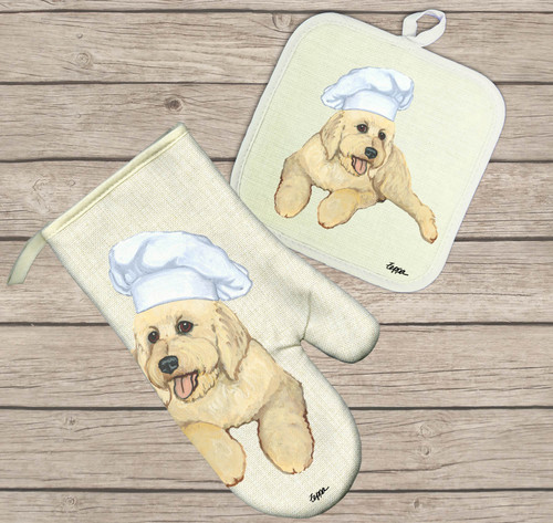 Golden Doodle Oven Mitt and Pot Holder Set