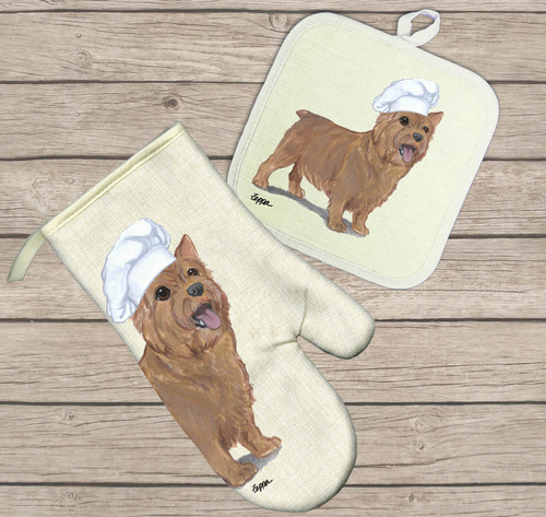 Norwich Terrier Oven Mitt and Pot Holder Set