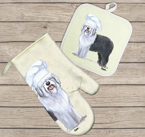 Old English Sheepdog Oven Mitt and Pot Holder Set