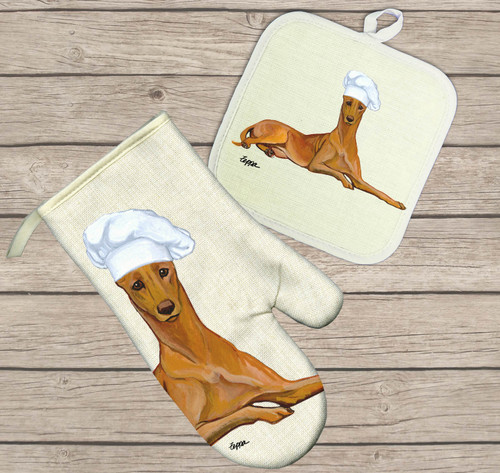 Pharaoh Hound Oven Mitt and Pot Holder Set