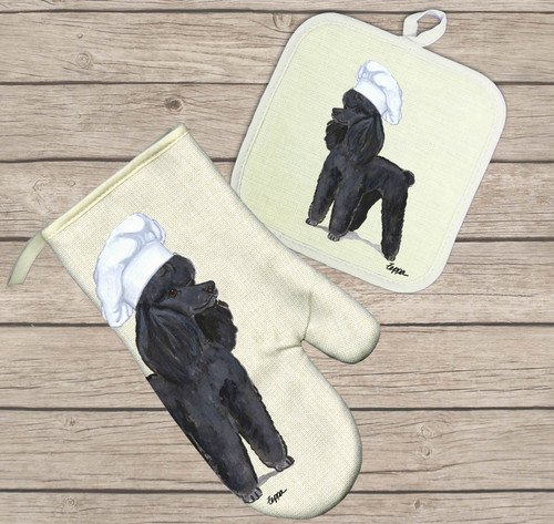 Black Poodle Oven Mitt and Pot Holder Set
