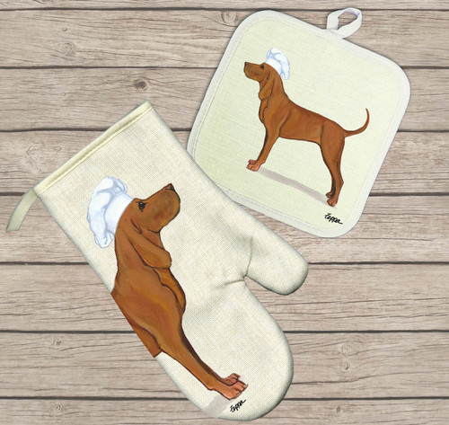 Redbone Coonhound Oven Mitt and Pot Holder Set