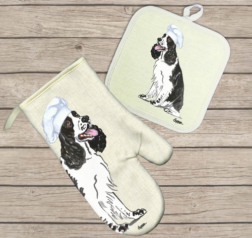 Black and White Springer Oven Mitt and Pot Holder Set