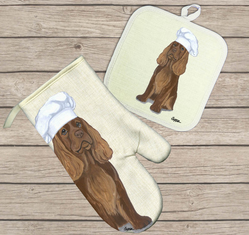 Sussex Spaniel Oven Mitt and Pot Holder Set