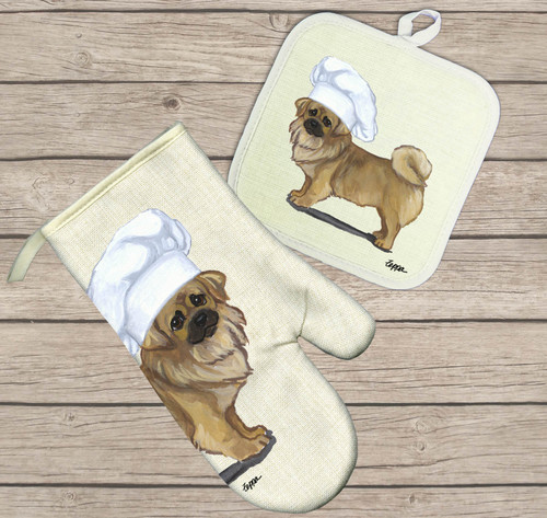 Tibetan Spaniel Oven Mitt and Pot Holder Set