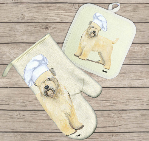 Soft Coated Wheaten Terrier Oven Mitt and Pot Holder Set