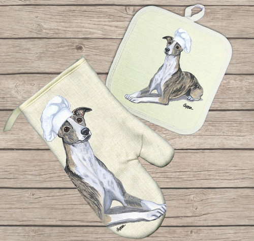 Whippet Oven Mitt and Pot Holder Set
