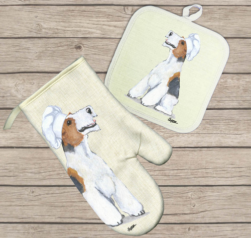 Wire Fox Terrier Oven Mitt and Pot Holder