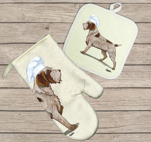 Wirehaired Pointing Griffon Oven Mitt and Pot Holder Set